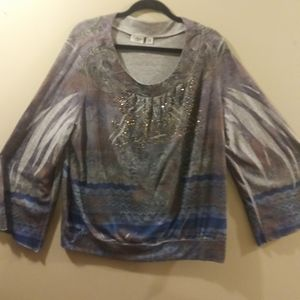 Long Sleeve Printed Top, Size Plus 22/24W